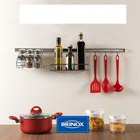 Imagem de Suporte Brinox Organizar Aço Inox Em Barra Para Cozinha 60cm