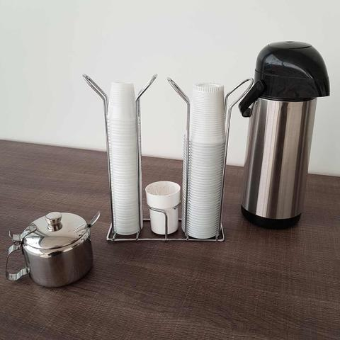 Imagem de Suporte Copo Descartável 50 80ml e 180 200ml Porta Copos Colheres Cafe Organizador Branco