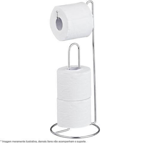Imagem de Suporte De Chão Porta Rolo Papel Higiênico Banheiro Cromado