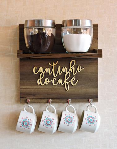Imagem de Suporte de Xícaras Aparador Cantinho do Café 30x30cm MDF Imbuia Decoração