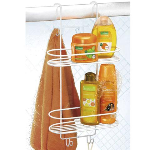 Imagem de Suporte Duplo Emborrachado Box Banheiro 2021 Porta Shampoo Condicionador Sabonete Branco Arthi