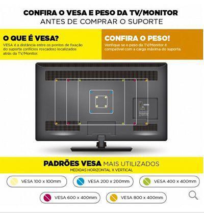 Imagem de Suporte fixo para TVs de Led 32 a 65 STPF66 PR Multivisão