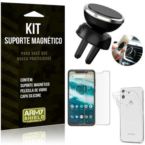 Imagem de Suporte Magnético Motorola Moto One Suporte + Capa Silicone + Película Vidro - Armyshield