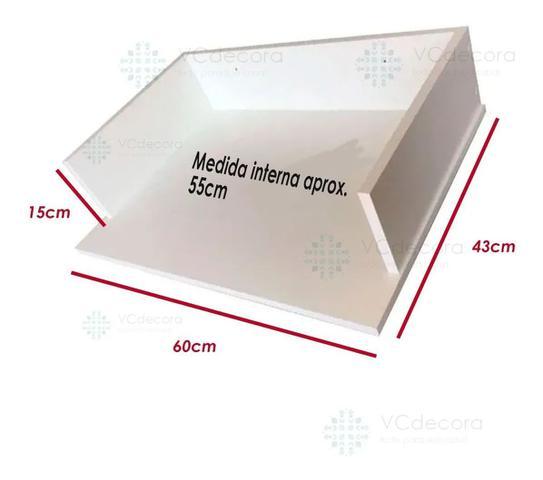 Imagem de Suporte Microondas Forno Forninho Nicho 60x15x43 Mdf Branco para LG 20 25 30 31 32 Litros ou Maior Parede Suspenso