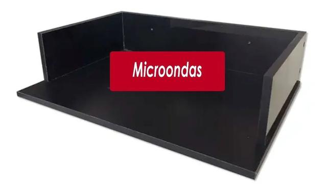 Imagem de Suporte Microondas Forno Forninho Nicho 60x15x43 Mdf Preto para LG 20 25 30 31 32 Litros ou Maior Parede Suspenso