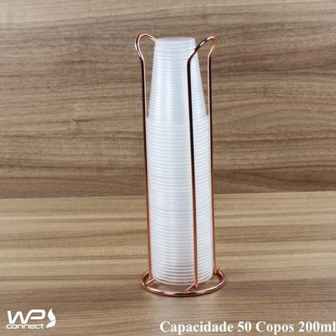 Imagem de Suporte Organizador Porta Copos Descartáveis 200ml - Rosé Gold