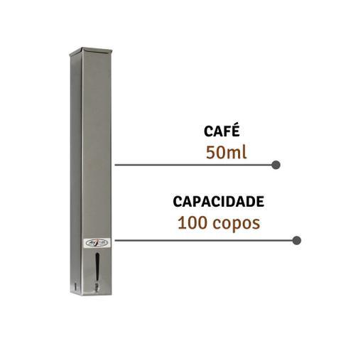 Imagem de Suporte Para Copos Descartaveis Quadrado Inox Cafe 50ml