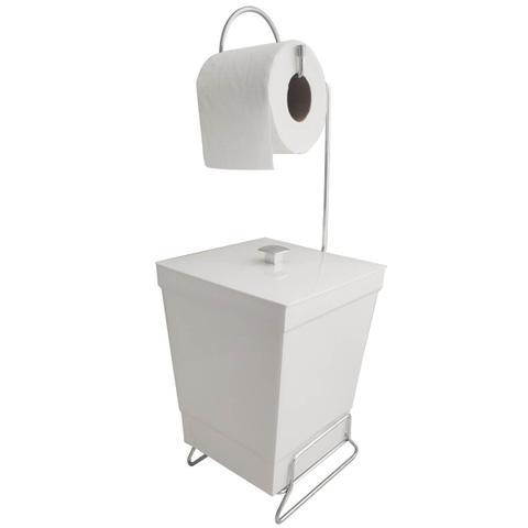 Imagem de Suporte Para Papel Higiênico Com Lixeira De Chão Banheiro Branco