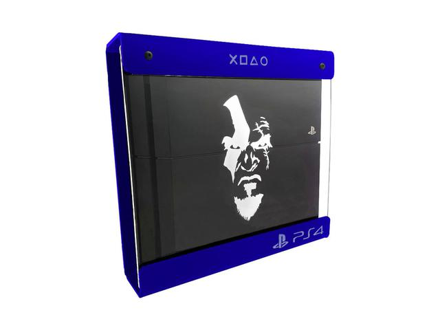 Imagem de Suporte Parede Iluminado Shield Ps4 FAT Azul - Branco - God Of War (face)