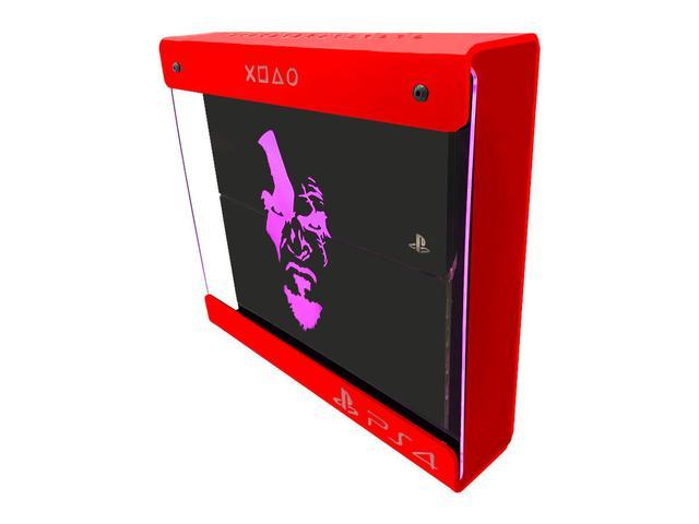 Imagem de Suporte Parede Iluminado Shield Ps4 FAT Vermelho - Rosa - God Of War (face)