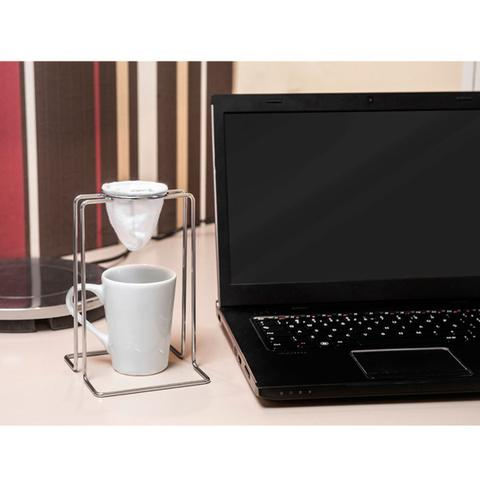 Imagem de Suporte Passador De Café Aramado Individual Mini Coador De Pano Cromado