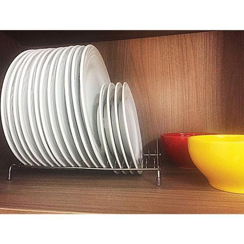 Imagem de Suporte Porta 18 Pratos Organizador Armário Cozinha Cromado