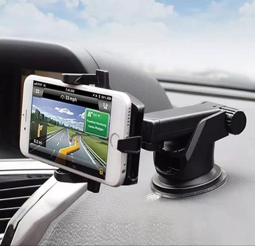 Imagem de Suporte Porta Celular De Carro Trava Automática Resistente