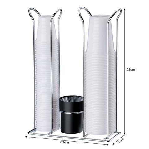 Imagem de Suporte Porta Copos Descartáveis 200 E 50/80 ml Com Porta Colheres - Aço