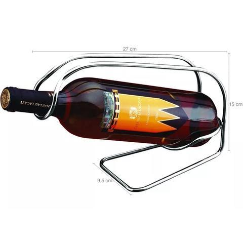 Imagem de Suporte Porta Garrafa Adega Unica Vinho Mesa Bancada Bar Aço