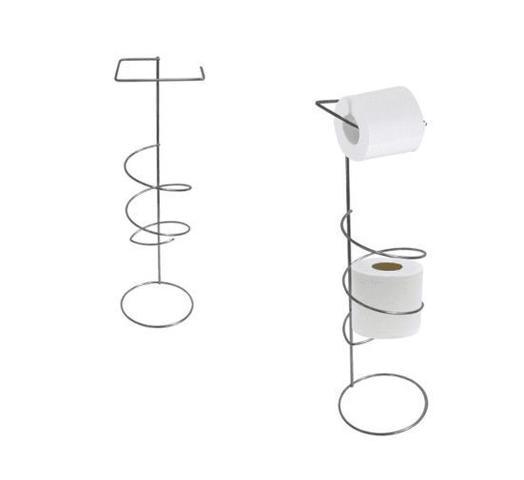 Imagem de suporte porta papel higiênico de chão cromado espiral estiloso