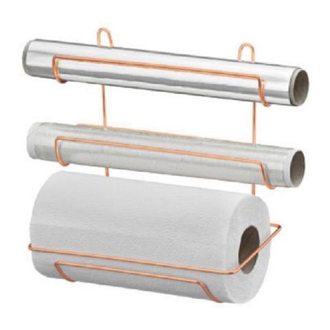 Imagem de Suporte Porta Rolos Gold Papel Toalha PVC e Alumínio - Cód 05724