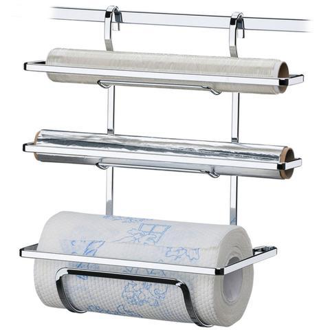 Imagem de Suporte Porta Rolos Triplo Papel Toalha Alumínio e PVC Luxo