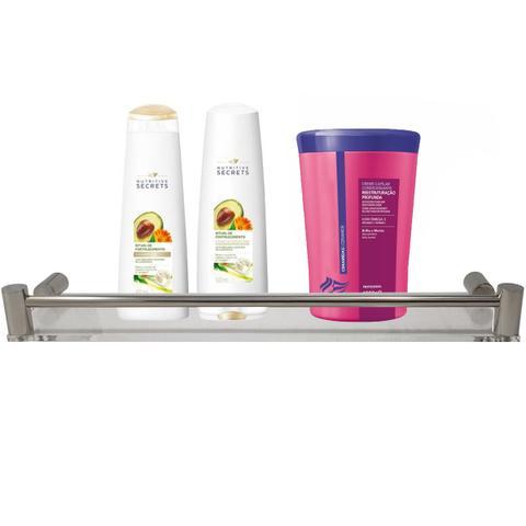 Imagem de Suporte Porta Shampoo Inox E Acrílico Prateleira De Banheiro