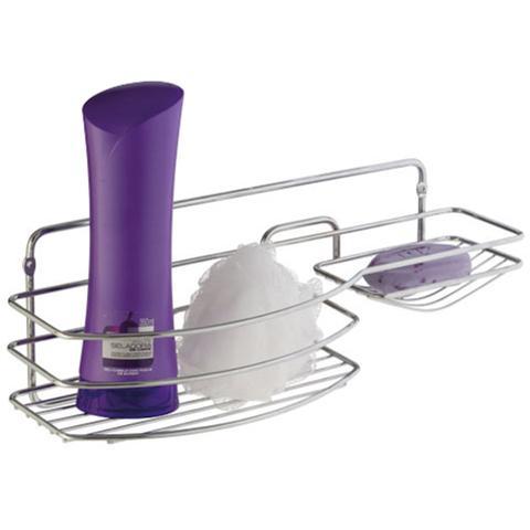 Imagem de Suporte Porta Shampoo Sabonete Multiuso Luxo Em Aço Cromado