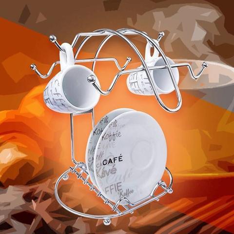 Imagem de Suporte Porta Xícaras e Pires Café Chá Organizador Cromado