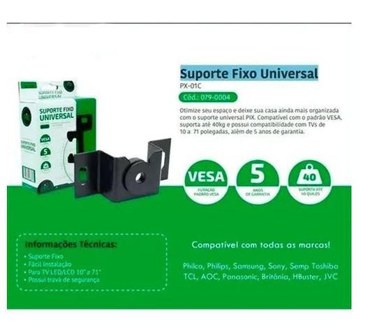 Imagem de Suporte TV Fixo Universal Ultra Slim LCD, Plasma, Led, Oled, Smart TV, 4K, 3D 14 24 32 40 42 50 55 60 71 84 105 Polegadas