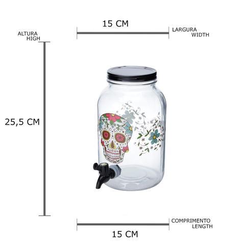 Imagem de Suqueira vidro Simple Glass Skull preto 15x25,5cm 3,5L Urban
