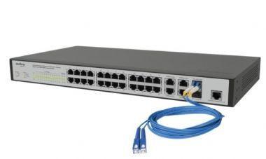 Imagem de Switch Gerenciável 24 Portas Fast + 4 Portas Gigabit + 2 Mini-GBIC RJ45 VLAN - SF 2842 MR - Intelbras