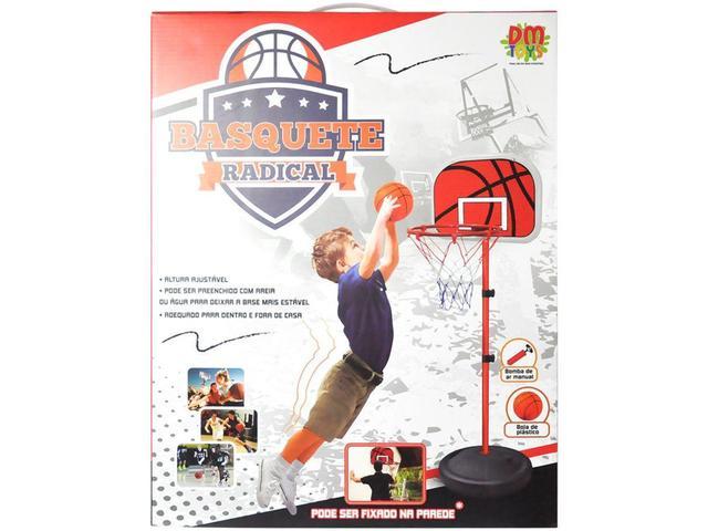 Imagem de Tabela de Basquete com Pedestal com Bola e Bomba - 202cm Dm Toys Basquete Radical