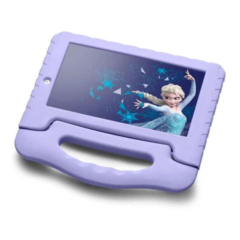 Imagem de Tablet Infantil Disney Frozen Kids Plus Multilaser NB315 Capa Emborrachada Roxo 16GB Bluetooth Wi-Fi