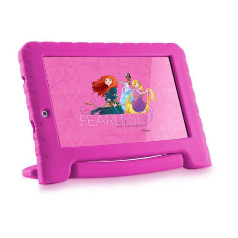 Imagem de Tablet Infantil Disney Princesa Kids Plus Multilaser NB308 Capa Emborrachada Rosa 16GB Bluetooth Wi-Fi