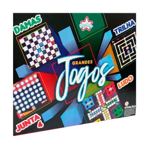 Imagem de Tabuleiro Dama Ludo Trilha Junta 4 Grandes Jogos Bigstar 4X1