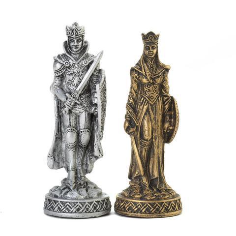 Imagem de Tabuleiro de xadrez Luxo Cavaleiros Medievais 3D 32 peças.