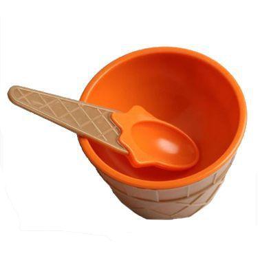 Imagem de Taça de Sorvete com Colher em Plástico Laranja