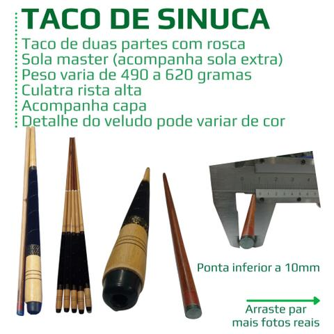 Imagem de Taco de sinuca com rosca ponta de sola e cabo com detalhe em veludo