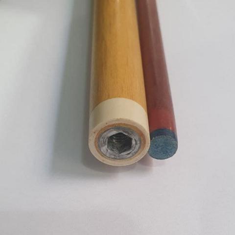 Imagem de Taco de sinuca de rosca (duas partes) com sola profissional cabo pirografado