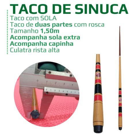 Imagem de Taco de sinuca Flamengo profissional com rosca divide ao meio e sola, sola reserva + capinha