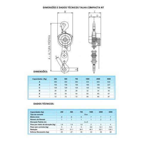Imagem de Talha Manual 1,0 TON X 5 Metros Compacta 1000-NT BERG STEEL