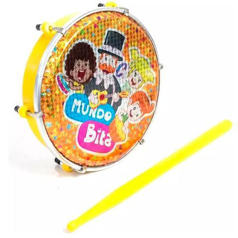 Imagem de Tamborim Luen Mundo Bita Infantil Amarelo Com Baqueta Abs 6