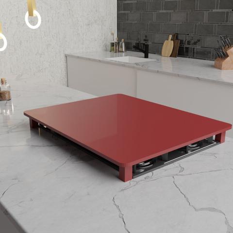 Imagem de Tampa para Cooktop 2 Bocas 30 x 52 cm Electrolux Madeira MDF Laqueado Vermelho