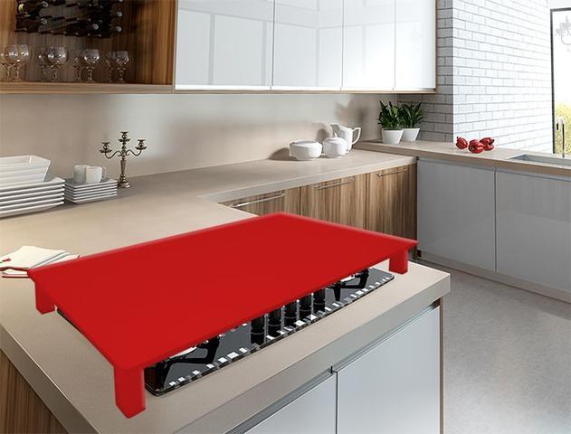 Imagem de Tampa para Cooktop 4 Bocas 73,3 x 54,6 cm Electrolux Madeira MDF Laqueado Vermelho