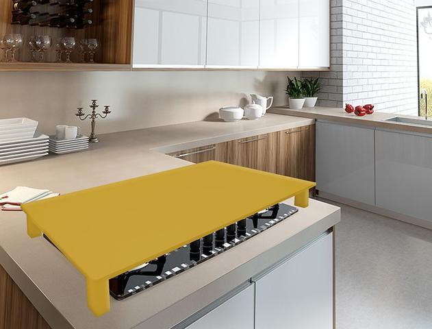 Imagem de Tampa para Cooktop 4 e 5 Bocas 69 x 51 cm Tramontina Madeira MDF Laqueado Amarelo