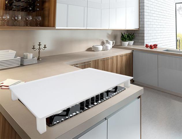 Imagem de Tampa para Cooktop 5 Bocas 75 x 50 cm Tramontina Madeira MDF Laqueado Branco