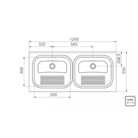Imagem de Tanque Duplo de Apoio Aço Inox Tramontina 120cmx55cm Inox