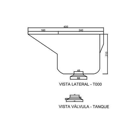 Imagem de Tanque em Mármore Sintético Simples 50x40cm Branco