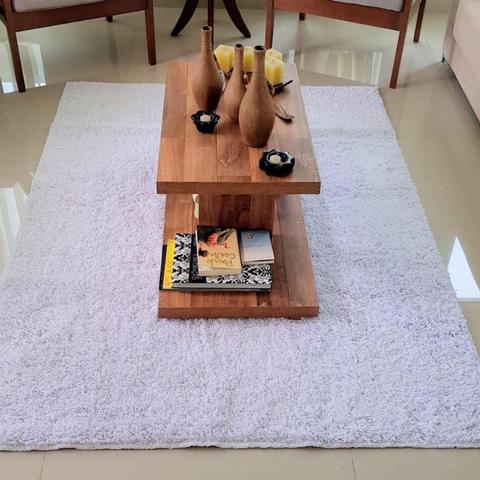Imagem de Tapete de algodão para Sala/Quarto- 1,50 x 2,00m - Cor Branco