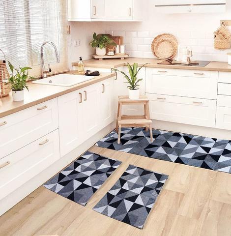 Imagem de Tapete de Cozinha Antiderrapante Mosaico Jogo de 3 Peças