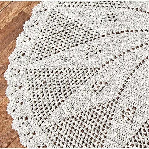 Imagem de Tapete De Sala Grande Redondo 1,50mts Em Crochê Fio 8 Cru