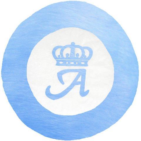 Imagem de Tapete Grande Emborrachado Coroa Inicial Personalizado Azul Turquesa