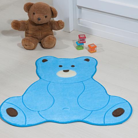 Imagem de Tapete Infantil para Quarto Antiderrapante Formato Urso Fofo com Tecido Pelúcia